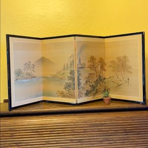 Vintage Asian Hand Painted Divider, Panels
